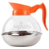 64 oz. Glass Decaf Coffee Decanter with Stainless Steel Bottom and Orange Handle