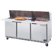 Beverage-Air SPE72-10 72 inch Three Door Refrigerated Salad / Sandwich Prep Table
