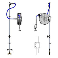 T&S B-1457 Enclosed 30' Epoxy Coated Hose Reel Assembly with Flex Inlets, Exposed Piping and Accessories