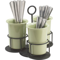 Cal-Mil 1035 Iron Revolving Flatware Caddy - 9 inch x 9 inch x 10 1/2 inch