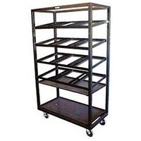 Win-Holt DR-2143 Red 43 inch x 21 inch Merchandiser Rack with Four Slanted Shelves and Flat Bottom Shelf