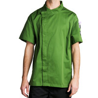 Chef Revival J020MT-5X Cool Crew Fresh Size 64 (5X) Mint Green Customizable Chef Jacket with Short Sleeves and Hidden Snap Buttons - Poly-Cotton