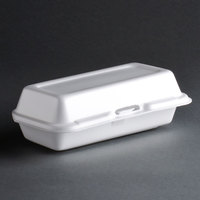 Dart Solo 72HT1 7 inch x 4 inch x 2 inch White Foam Hinged Lid Hot Dog Container 500/Case