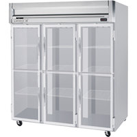 Beverage Air HRP3-1HG-LED 3 Section Glass Half Door Reach-In Refrigerator - 74 cu. ft., SS Exterior
