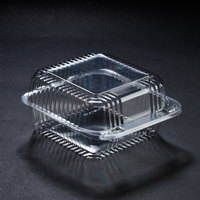 Dart Solo PET25UT1 StayLock 6 1/8 inch x 6 1/2 inch x 3 1/4 inch Clear Hinged PET Plastic 6 inch Square Container - 500 / Case