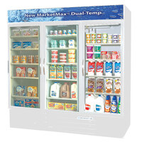 Beverage Air Market Max MMRF72-5-W-LED C/C/F White 3-Glass Door Dual Merchandising (2) Refrigerator / (1) Freezer with LED Lighting - 72 Cu. Ft.