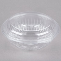 Dart Solo C24HBD PresentaBowls 24 oz. Clear Hinged Plastic Bowl with Dome Lid 150 / Case