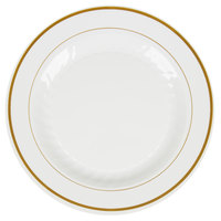 WNA Comet MP10IPREM 10 1/4 inch Ivory Masterpiece Plastic Plate with Gold Accent Bands 12 / Pack