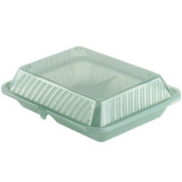 Jade Green GET EC-15 2-Compartment Reusable Eco-Takeouts Containers 10 inch x 8 inch x 3 inch 12 / Case