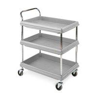 Metro BC2636-3DG Gray Utility Cart with Three Deep Ledge Shelves 38 3/4 inch x 27 inch