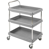 Metro BC2636-3DG Gray Utility Cart with Three Deep Ledge Shelves 38 3/4 inch x 27 inch
