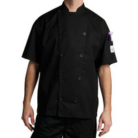 Chef Revival J045BK-XL Chef-Tex Size 48 (XL) Black Customizable Poly-Cotton Traditional Short Sleeve Chef Jacket