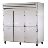 True STR3R-6HS Specification Series Three Section Solid Half Door Refrigerator - 85 Cu. Ft.