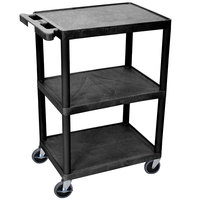 Luxor / H. Wilson HE34-B Black Three Shelf Utility Cart - 24 inch x 18 inch x 34 inch