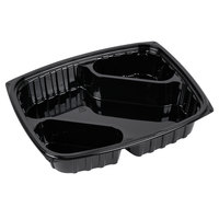 Dart Solo B30DX3 ClearPac 30 oz. Black Rectangular 3 Diagonal Compartment Plastic Container - 252/Case