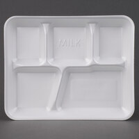 Genpak 10500W 10 3/8 inch x 8 3/8 inch x 1 3/16 inch 5 Compartment White Foam School Tray - 125/Pack