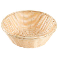Choice 9 inch Round Natural-Colored Rattan Basket - 12 / Case