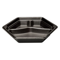 Genpak HX013-3L Smart-Set 10 inch Black Hexagonal 3 Compartment Foam Serving Tray 200 / Case