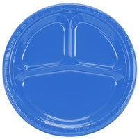 Creative Converting 019258 10 inch 3 Compartment True Blue Plastic Plate - 20 / Pack