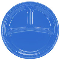 Creative Converting 019258 10 inch 3 Compartment True Blue Plastic Banquet Plate - 20 / Pack