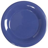 GET WP-10-PB Diamond Mardi Gras 10 1/2 inch Peacock Blue Wide Rim Round Melamine Plate - 12 / Case