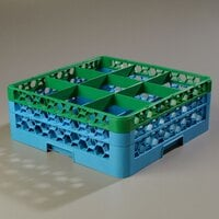 Carlisle RG9-2C413 OptiClean 9 Compartment Glass Rack with 2 Color-Coded Extenders - Green / Carlisle Blue