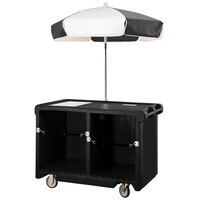 Cambro Camcruiser CVC55110 Black Vending Cart with Umbrella, 1 Counter Well, and 2 Storage Compartments