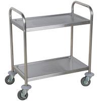 "Choice 28"" x 16"" x 32"" Knocked Down 18 Gauge Stainless Steel 2 Shelf Utility Cart"