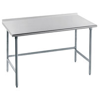 Advance Tabco TFMG-245 24 inch x 60 inch 16 Gauge Open Base Stainless Steel Commercial Work Table with 1 1/2 inch Backsplash
