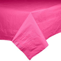 Hoffmaster 220632 54 inch x 108 inch Cellutex Raspberry Pink Tissue / Poly Paper Table Cover - 25 / Case