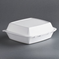 Dart Solo 85HT1R 8 inch x 8 inch x 3 inch White Foam Square Take Out Container with Perforated Hinged Lid - 200 / Case