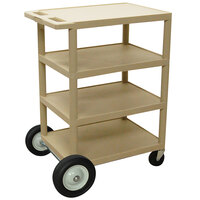 Luxor / H. Wilson BCB45 Putty 4 Shelf Serving Cart with Rear Big Wheels - 18 inch x 24 inch x 39 inch