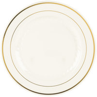 Fineline Silver Splendor 509-BO 9 inch Bone / Ivory Plastic Plate with Gold Bands - 12 / Pack