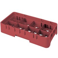 Cambro 8HS434416 Cranberry Camrack 8 Compartment 5 1/4 inch Half Size Glass Rack