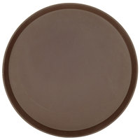 Cambro 1600TL138 Brown 16 inch Round Nonskid Treadlite Fiberglass Serving Tray - 12/Case