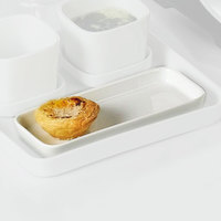 CAC F-RT8 Fortune 7 3/4 inch x 3 1/2 inch White Rectangular China Tasting Tray 24/Case
