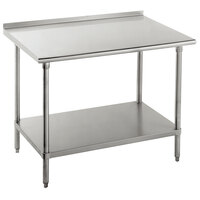 Advance Tabco FLG-365 36 inch x 60 inch 14 Gauge Stainless Steel Commercial Work Table with Undershelf and 1 1/2 inch Backsplash