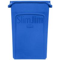 Rubbermaid 1956185 Slim Jim Wall Blue Wall Hugger Trash Can - 23 Gallon