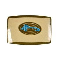 Wei 6 3/4 inch x 4 1/2 inch Rectangular Melamine BBQ Plate - 12/Pack