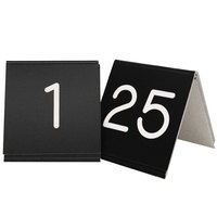 Cal-Mil 269A-2 Black Engraved Number Tent Sign Set 1-25 - 3 inch x 3 inch