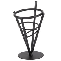American Metalcraft MFC1 Black Wrought Iron Cone Basket - 3 3/8 inch x 6 1/4 inch