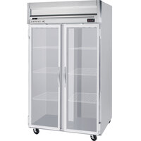Beverage Air HFS2-1G-LED 2 Section Glass Door Reach-In Freezer with LED Lighting - 49 cu. ft., SS Front and Interior