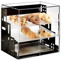 Cal-Mil 1621-13 Squared Three Tier Black Display Case with Front Doors - 15 inch x 13 inch x 19 inch
