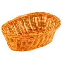 Tablecraft HM1174OR Orange Oval Rattan Basket 9 1/4 inch x 6 1/4 inch x 3 1/4 inch 6/Pack