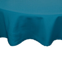 120 inch Teal Round Hemmed Polyspun Cloth Table Cover