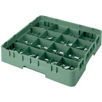 Cambro 16S418-119 Camrack 4 1/2 inch High Green 16 Compartment Glass Rack