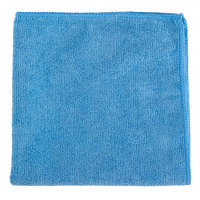 16 inch x 16 inch Blue Microfiber Cleaning Cloth - 12/Pack