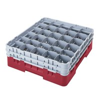 Cambro 30S1114416 Cranberry Camrack 30 Compartment 11 3/4 inch Glass Rack