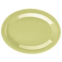 GET OP-950-AV Avocado Diamond Harvest 9 3/4 inch x 7 1/4 inch Oval Platter - 24/Case