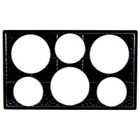 GET ML-161 Full Size Black Melamine Adapter Plate with Six Cut-Outs for Six Round Crocks